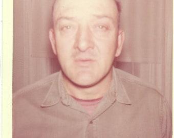 1960s Bald Man Close Up Who Me? 60s Vintage Photograph Color Photo