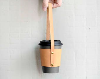 leather starbucks sleeve/Coffee Cup Sleeve with holder strap/reusable mug cozy/Coffee Cozy/Cup Cozy/Tea Cozy/coffee sleeves