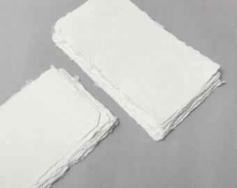 "4.3"" x 8.7"" Ivory, 150gsm Handmade Deckle Edge Cotton Rag Paper // Deckle Edge Paper, Cotton Paper, Invitation Paper, Calligraphy Paper"