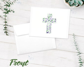 Notecards | Blank Note Cards | 10-Pack Greeting Cards | Cross Floral Notecards | Christian | Purple Flowers | FREE SHIPPING