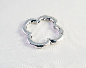 ITL95 - Fleur clover 4 leaf lucky silver matte aged shaped connector 22mm