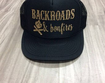 Backroads And Bonfires Trucker Hat Hat Mesh Camping Desert Riding Country Women's Camping Hats Camping Trucker Hats Weekend Getaway Truckers