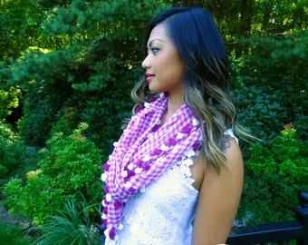 Gingham check handwoven cotton scarf - Pink/Fushcia Spring 2015