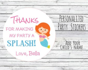 Mermaid Stickers Party Personalized Favor Labels,Pink, Mermaid Thank You Labels Mermaid Birthday Goodie Bag Labels, First Birthday