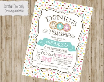 Donut and Pajamas Invitation, Donut Birthday Invite, Pajama Party Invitation, Boy Birthday Invitation, Girl Birthday Invitation