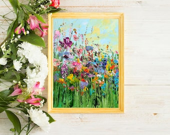 Painting Landscape Colorful Prints Floral Print Art Bright Wall Art Abstract Painting Canvas Art Flower Wildflowers Field Grass Green Purple