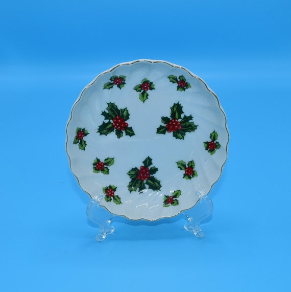 Lefton Christmas Holly Dish Vintage Lefton Holly Leaves Trinket Dish Holiday Scalloped Candy Bowl Christmas Decoration Gift for Her