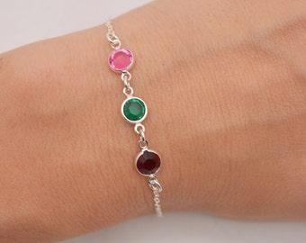 Mother's Birthstone Bracelet, Mother's Day Gift, Mom Bracelet, Choose Your Birthstones, Childrens Birthstones Bracelet 0324