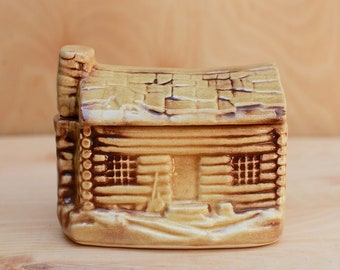 Log Cabin Cookie Jar by The House of Webster Ceramic Made in Eastland Texas Sweet Cottage Style Country Cutie