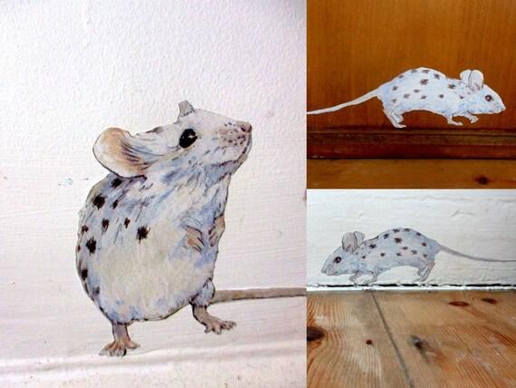 Wall sticker mice kitchen wall decals Royal Tenenbaums