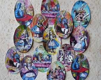 Alice in Wonderland Oval Pre-cut STICKERS Set of 14 Alice Cupcake toppers Alice in Wonderland decorations Alice party decorations DIY or RTU