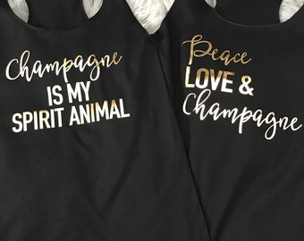 Bachelorette Party Racerback Tank Tops with Champagne Sayings // Bachelorette Party Tank Tops, Bachelorette, Bridal Party Tank Tops / 6001