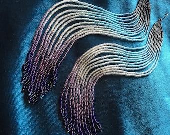 MauiSwan Enchanting Delicate Blackberry, Blue, Silver & Purple Glass Seed Bead, wintery white, Shoulder-Dusting Earrings