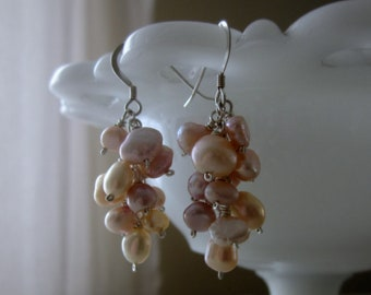 Pearl Cluster Earrings, Freshwater Pearl Earrings, Short Dangle Earrings, Pink Pearl Earrings, Sterling Pearl Earrings, June Birthstone