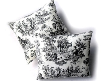 French Toile Pillows- Set of Two - Black