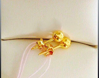 Solid 22k gold plain round ear studs 916 gold