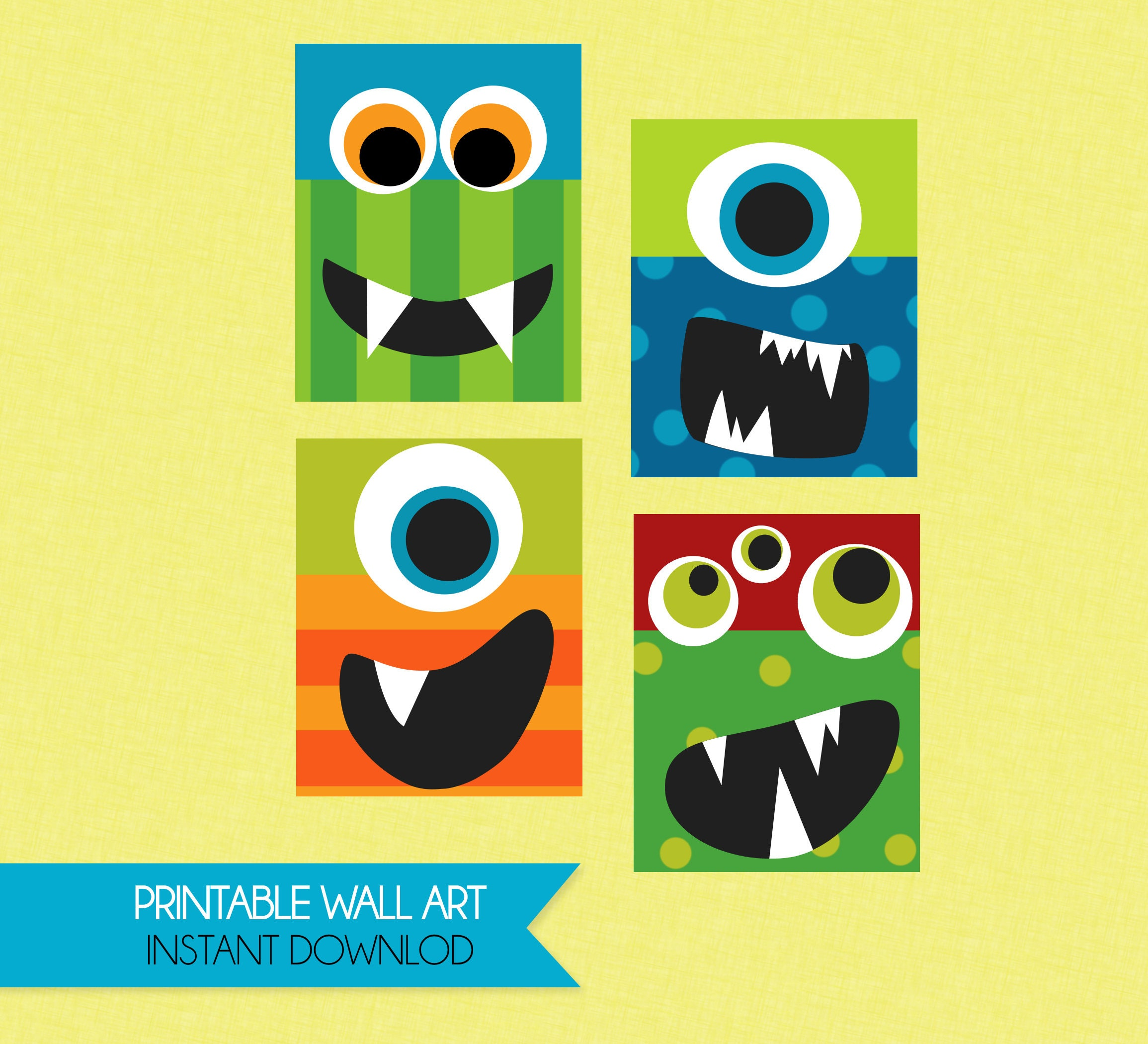 Silly Fun Monster Faces Printable Wall Art - INSTANT DOWNLOAD ...
