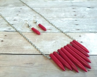 Red Stone Necklace Earring Set, Long Fashion Necklace, FREE SHIPPING
