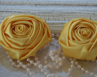 """2"""" Satin Fabric Roses, Yellow Satin Rolled Rosettes, Satin Roses, Rolled Roses, Fabric Flowers, Satin Flowers, Satin Rosettes, 30 Colors"""