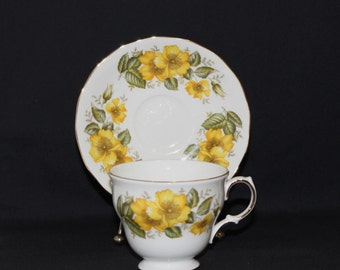 Royal Vale Yellow Floral Tea Cup and Saucer - Ridgway Potteries