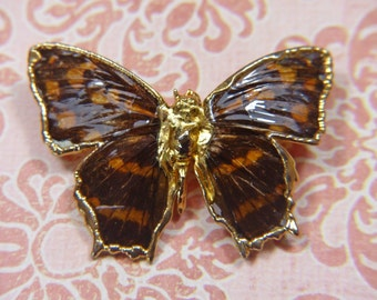 Vintage Brown and Gold Enamel Butterfly Brooch -  BUT-136 -  Brown Butterfly Brooch - Brown Enamel Brooch - Metal Butterfly Brooch