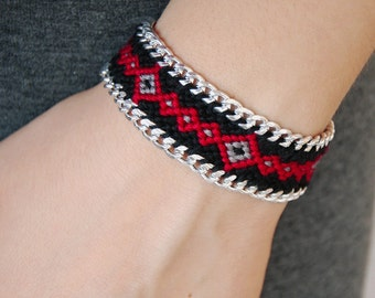 Raw Snowflake Obsidian Wayuu Bracelet, Chain ikat macrame, Black cotton geometric geo friendship bracelet, Ethnic grey red aztec chevron
