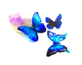 3 Blue transparent butterflies