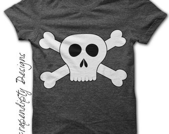 Iron on Skull and Crossbones Shirt PDF - Pirate Iron on Transfer / Pirate Birthday Party Outfit / Digital Toddler Boys Custom Tshirt IT319