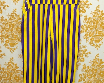 Vintage 1990s Purple and Yellow Striped Overalls Dungarees Coveralls in Brand New Condition Size XL