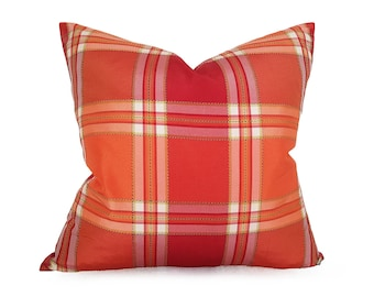 Orange Throw Pillows, Plaid Pillows, Designer Pillows, Spring Pillows, Toss Cushions, 18, 20, Mothers Day Gift, Fuchsia, Pink, Red, Coral