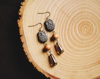 earthy owl teardrop earrings.