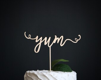 yum wedding cake topper   wedding cake topper   wood wedding cake topper   yum cake topper   wedding decor   rustic wedding cake topper