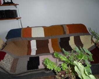 textured woollen crochet sofa cover blanket