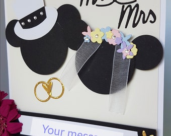 Personalised Mickey Minnie Mouse Character Wedding Married Cards Handmade Ring Marriage WD20