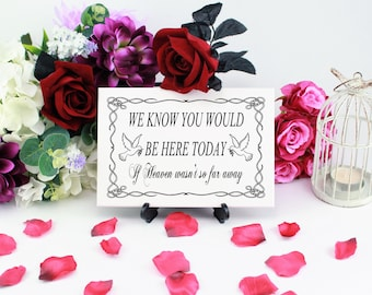 We Know You Would Be Here Today If Heaven Wasn't So Far Away, Wedding Memorial Sign, Remembrance Sign, Wedding Ceremony, Reception Sign
