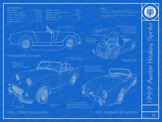 1959 austin healey sprite blueprint poster 18x24 malvernweather Image collections