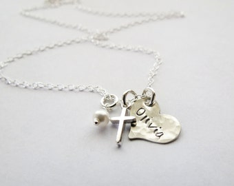 Personalized Necklace with Cross - Baptism Gift - First Communion Gift - Godmother Gift - Girls Cross Necklace - Personalized Jewelry