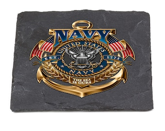 Navy Natural Stone Coasters United States - The Sea Is Ours SKU: MM130-SC100