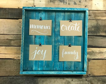 Rustic Picture Display / Photo Frame / Picture Frame / Rustic Decor / Photo Picture Frame / Framed Wood Photo Hold / Picture Clips Display