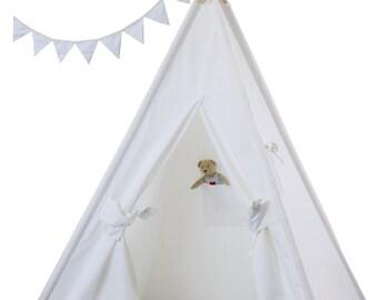 Plain Canvas Teepee Package with Poles, Floor, Pocket,LED Light and Storage Bag, Kids Teepee,Play Tent, Tipi, Playhouse, Kids Room Decor