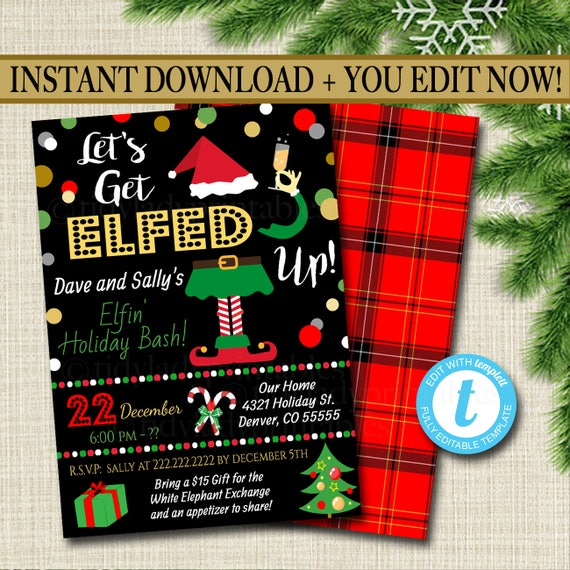Printable Let's Get Elfed Up Invitation Christmas Party