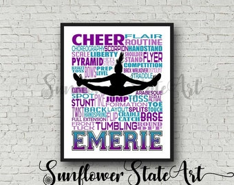Cheerleading Typography Poster, Personalized Cheerleader Art, Summit Cheer Gifts, Gift for Cheerleaders, Cheer Team, Cheerleader Wall Art