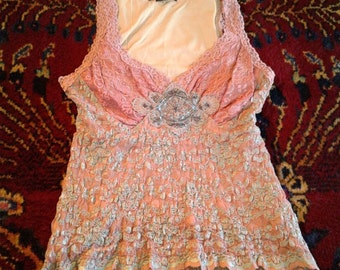Bohemian Gypsy Beaded Stretch Lace Top