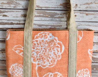 Market Tote- Tangerine Bloom