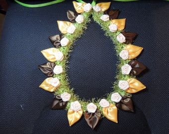 Petal Lei Gold and Brown with ivory roses