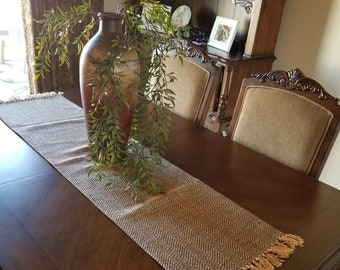 Blue and Gold Flecked Chevron Table Runner