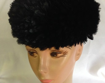 Black Feather Pillbox Hat