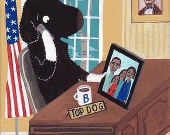 President Bo Obama in Oval Office - Folk Caricature White House Pet Portrait Art Print Democrat USA Barack Portuguese Water Dog