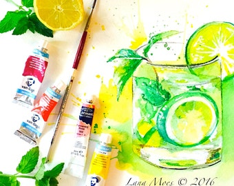 When Life Gives You Lemons Art Print - Kitchen Home Decor - Restaurant Art decor - Cocktail Party Decor - Colorful Illustration