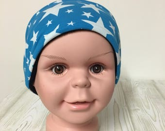 Headband SUS cotton fleece blue with stars 48-54 cm